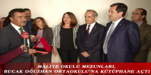 MALİYE OKULU MEZUNLARI, BUCAK OĞUZHAN ORTAOKULU'NA KÜTÜPHANE AÇTI