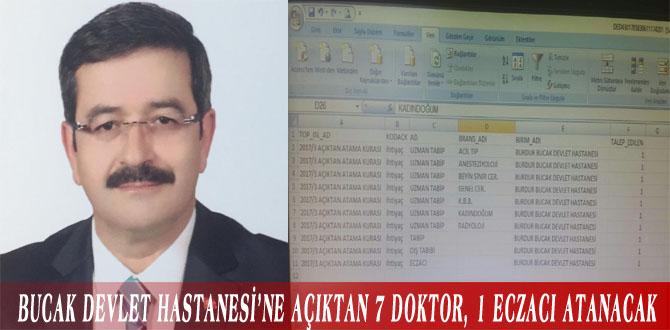 BUCAK DEVLET HASTANESİ'NE AÇIKTAN 7 DOKTOR, 1 ECZACI ATANACAK