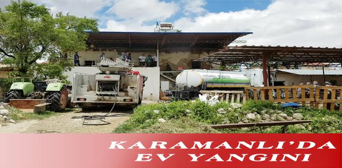 KARAMANLI'DA EV YANGINI