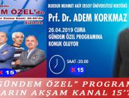 """GÜNDEM ÖZEL"" PROGRAMI YARIN AKŞAM KANAL 15'TE"