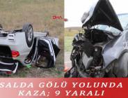 SALDA GÖLÜ YOLUNDA KAZA; 9 YARALI