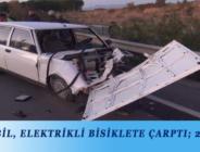 OTOMOBİL, ELEKTRİKLİ BİSİKLETE ÇARPTI; 2 YARALI