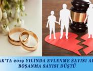 BUCAK'TA 2019 YILINDA EVLENME SAYISI ARTTI, BOŞANMA SAYISI DÜŞTÜ