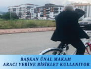 BAŞKAN ÜNAL MAKAM ARACI YERİNE BİSİKLET KULLANIYOR