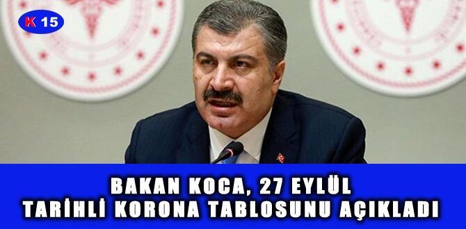 BAKAN KOCA, 27 EYLÜL TARİHLİ KORONA TABLOSUNU AÇIKLADI