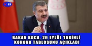 BAKAN KOCA, 29 EYLÜL TARİHLİ KORONA TABLOSUNU AÇIKLADI