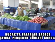 BUCAK'TA PAZARLAR SADECE ÇARŞAMBA, PERŞEMBE GÜNLERİ KURULACAK