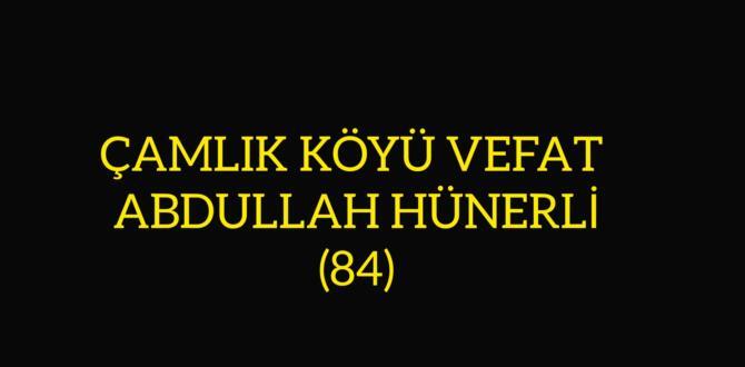 ÇAMLIK KÖYÜ VEFAT ABDULLAH HÜNERLİ (84)