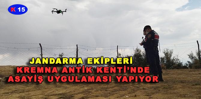JANDARMA EKİPLERİ, KREMNA ANTİK KENTİ'NDE ASAYİŞ UYGULAMASI YAPIYOR